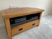 Golden oak corner TV unit