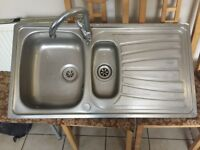 Kitchen Sink Double Drainer Taps Included Stainless Steel Carron Phoenix Good Condition