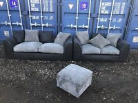 Italian Suede / Fabric Sofas Excellent Condition , Free Delivery In Norwich.