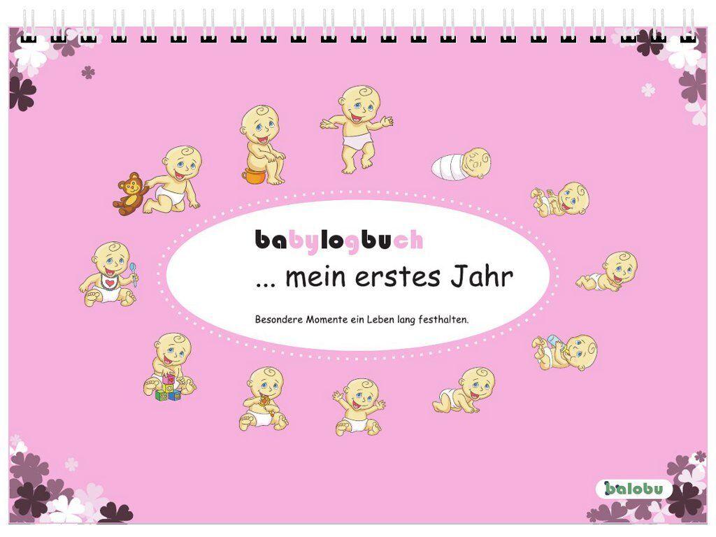 babylogbuch - mein erstes Jahr - rosa - Babytagebuch Babykalender Geschenk
