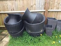 Rattan garden egg chairs x4 & tables/stools x2