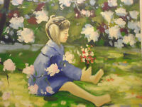 Girl with flowers large canvas wall painting