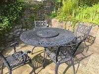Garden Furniture Eight Chairs, Table & a Bench light Aliminium