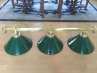 Triple Hanging Light Fitting In Brass With 3 Green Shades For Pool / Snooker Table, Or Kitchen