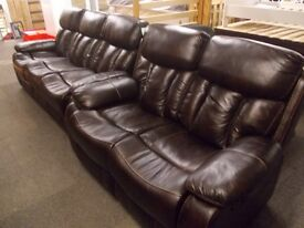 Brand new 3+2 reclining sofas in bonded brown leather