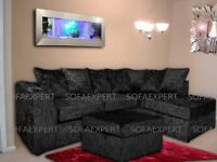 🌷💚🌷SPECIAL OFFER🌷💚🌷CRUSHED VELVET CORNER SOFA SILVER GOLD BLACK COUCH 2 + 3 SEATER SET