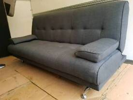 NEW Grey Designer Sofa Bed with Chrome Feet DELIVERY AVAILABLE