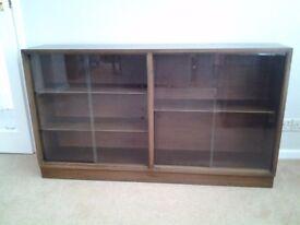 Vintage Retro Wooden Glazed Bookcase/Display Cabinet