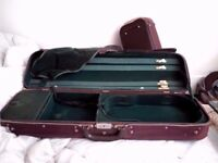 2 X Roland Baumgartner Switzerland Violin Size 4/4 Canvas Covered Pair of Wood Hard Cases x 2