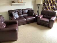 Sofa & 2 chairs - leather