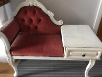 Shabby chic telephone chair/Chaise longue