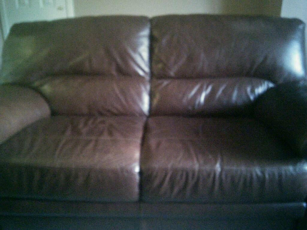 2 Seater Leather Sofa And Two Leather Chairs Dark Brown In  ~ Leather Sofa And Two Chairs