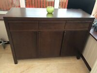 Solid dark wood sideboard tv unit