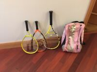 Tennis rackets, bag and squash racket