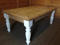Solid pine carved shabby chic coffee table