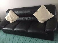 Black leather 3 seater sofa and 2 matching arm chairs, very good condition, comfortable seating