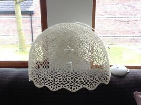 Gorgeous off-white flower lace crocheted starched very large light shade fitting with scalloped edge