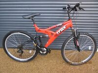 """MENS / TEENAGERS TRAX TSFI DUAL SUSPENSION BIKE IN ALMOST NEW CONDITION..18"""" / 46cm. UNMARKED FRAME"""