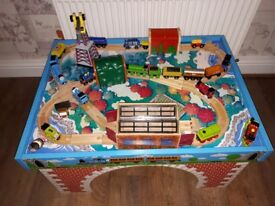 Train table, lots of track, stations etc