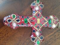 Highly decorative and unusual decorated cross for hanging on wall,standing on table,window etc, rare