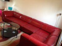 Modular Italian Leather Sofa, Lamps, Coffe Table