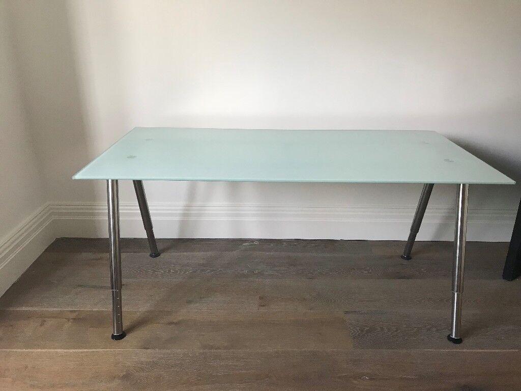 Ikea Galant Glass Trestle Desk Table