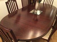 Mahogany table and 6 chairs