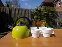 Quechua pot, steamer, 4x pans/plates; kettle + 4 x mugs and camping stove; £10 or best offer