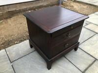 Stag hard wood two drawer bedside cabinet, good condition