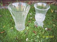 2 BEAUTIFUL CLEAR GLASS VASES