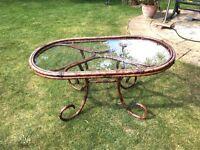 Low Patio Table - Glass & Stove Enamel - 107cm x 60cm x 52cm high - Moving forces sale