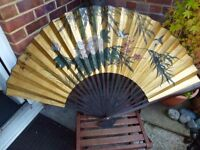 A Very large beautiful vintage Chinese Asian hand painted fan with wooden slats, unusual signed item