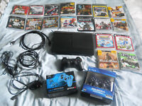 PS3 Super Slim 500gb Console + 18 Games 3 Controllers Excellent Condition