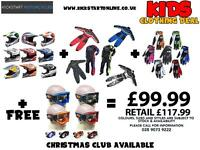 Kids Gear at kickstart Belfast helmets suits goggles gloves boots etc