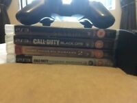 PS3 super slim 12gb 1 controller and 4 games