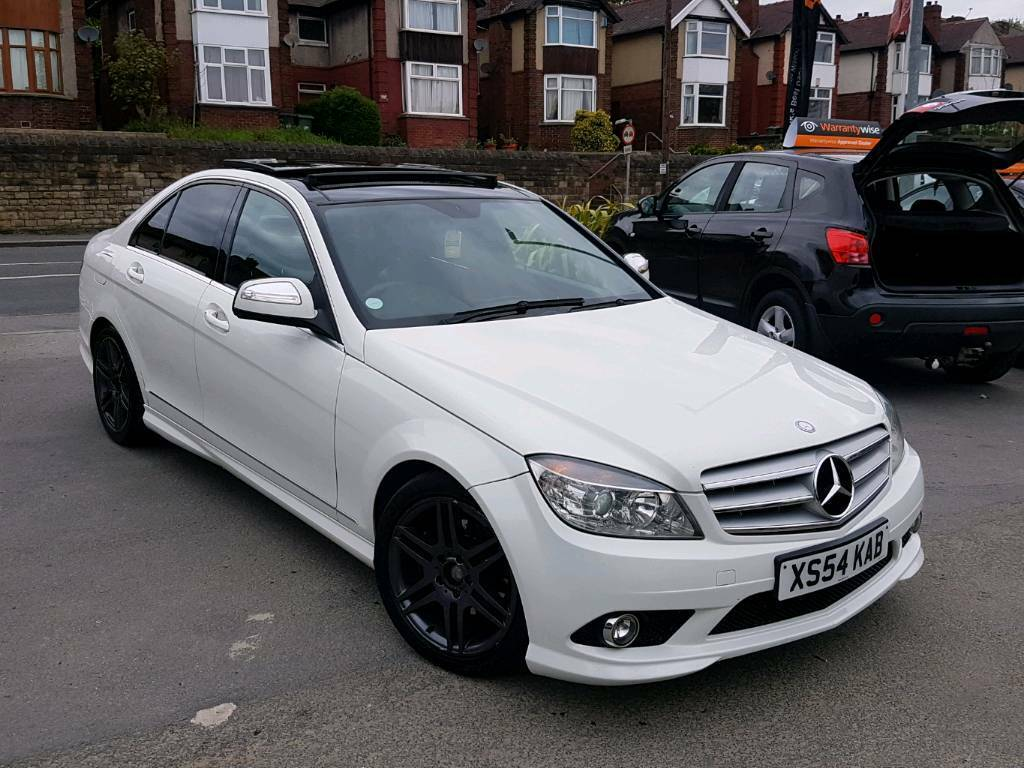 2008 58 mercedes c class c220 cdi amg sport auto 4 door white pan roof hpi clear top spec. Black Bedroom Furniture Sets. Home Design Ideas