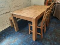 Ex Showroom Harveys Roswell, dining table, bench, chairs RRP £1299