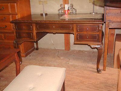1900-1950 Vintage Antique Carved Desk, Large,