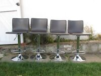 4 Breakfast bar stools adjustable height backrest leather and chrome FREE LARGE BAR TABLE