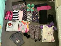 Large bundle of girls clothes and shoes age 5-6 Disney unicorn next m&co