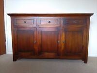 Indian Redwood sideboard, 3 draw, 3 door, well made dove tailed carpentry