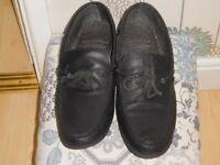 Moccasin type Leather slip on shoe (Black) size 11