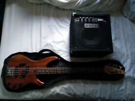 YAMAHA RBX 350 Full Size Four-String Electric Bass Guitar & Bass Amp ONO
