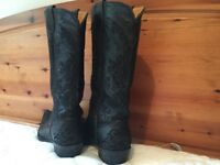 Women's Size 7 Black Embroidered Leather Cowboy boots .'OLD GRINGO'.