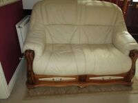 Chesterfield cream 2 seater leather sofa almost brand new condition £200