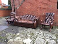 ANTIQUE BROWN LEATHER CHESTERFIELD 3 PIECE SUITE TIMELESS FURNITURE CAN DELIVER