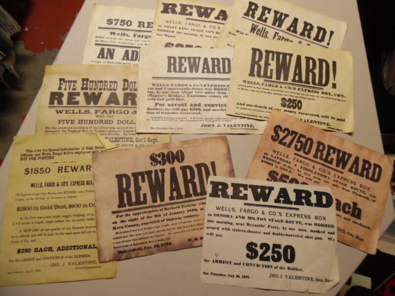 1875-1876 Wells Fargo Reward Wanted Poster Lot of 10 1950s Vintage Facsimiles