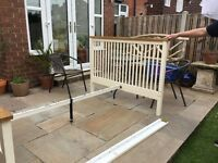 Cream painted double bed frame with oak trim