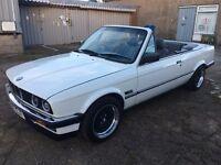 Bmw E30 320i Convertible 1989. Alpine White. Auto. FSH, Great Condition. Classic Car.Collectable