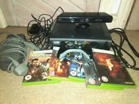 Xbox 360 Elite 600gb with Kinect, 1 controller and games